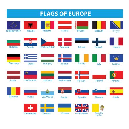 Flags of Europe Vektorgrafik