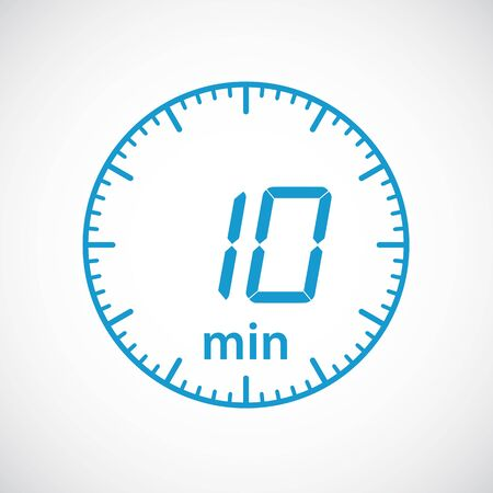 Time min 10 , clock, stopwatch isolated set icons. Label cooking time. Vector illustration Ilustração
