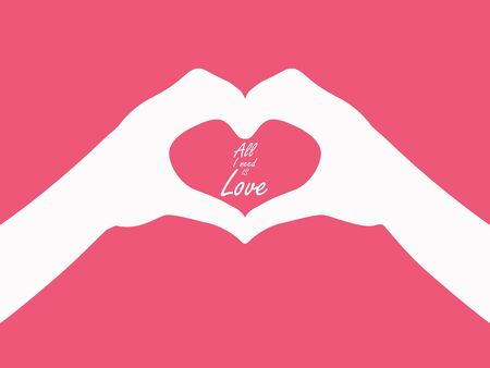 hand heart gesture header with line heart and all you need is love phrase