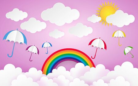 Color Full Umbrella with Cloud Paper Style art vector illustration 向量圖像