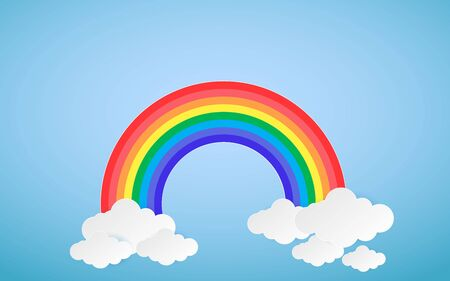 Cloud and Rainbow in blue sky Paper art Style the concept is season day,vector design element illustration 向量圖像