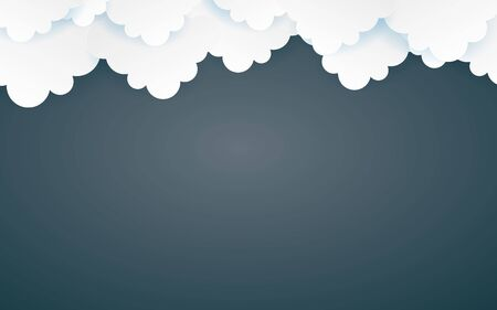 Color Full Cloud Paper Style art vector illustration 向量圖像