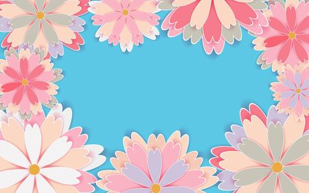 -Paper cut flower holiday background Vector illustration 向量圖像