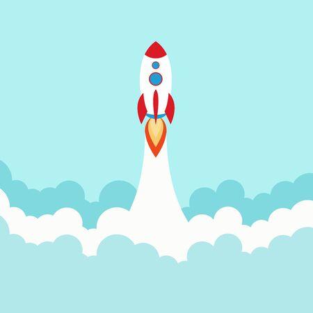 Lanzamiento de un cohete espacial. Poner en marcha el concepto de estilo plano. Ilustración de vector. Ilustración de vector