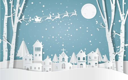 Père Noël conduisant dans un traîneau, hiver avec des maisons et de l'art en papier enneigé. beaux paysages dans le vecteur de conception