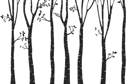 Birch Tree with deer and birds Silhouette Background Vector Illustratie