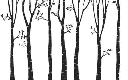 Birch Tree with deer and birds Silhouette Background Vektorové ilustrace