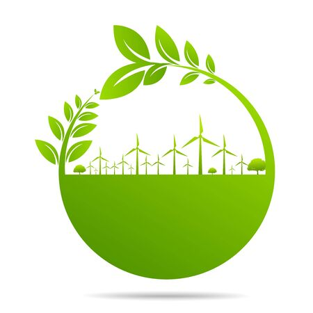 Ecology concept - gear with Green environmentally friendly