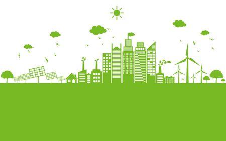 Ökologiekonzept und Umwelt, Bannergestaltungselemente für nachhaltige Energieentwicklung, Vektorillustration