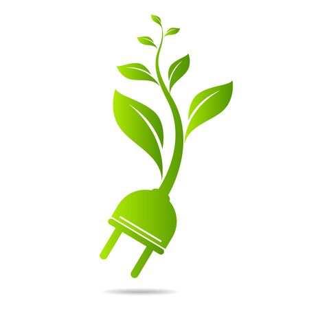 Energy sveing  leaves and electric plugs design Illustration