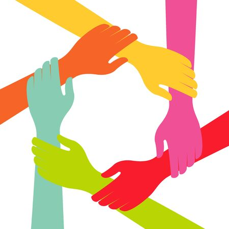 Hand Colorful Creative Connection with Teamwork Vector Illustratie