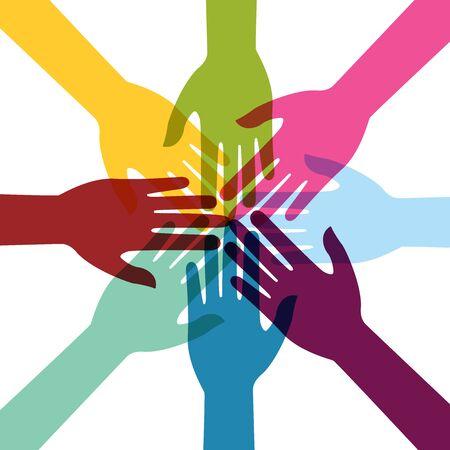 Hand bunte kreative Verbindung mit Teamwork