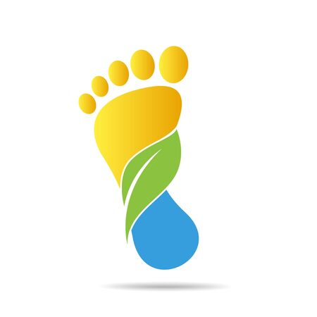 footprints of green leaves organic health and beauty care design Vecteurs