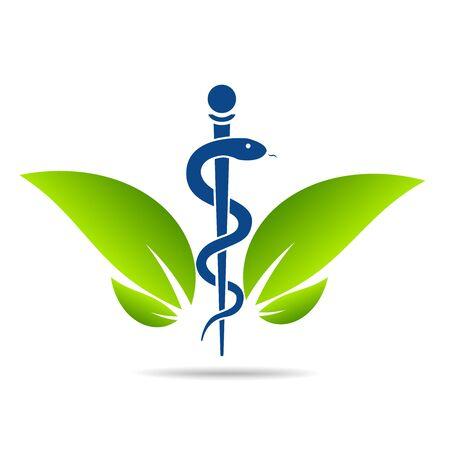 Symbole médical créé à l'aide de serpents et de feuilles vertes, symbole du caducée. Un mode de vie sain est un cœur fort, illustration vectorielle abstraite