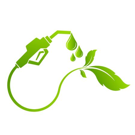 Green bio fuel concept with fueling nozzle leaf and drop natural energy concept vector illustration