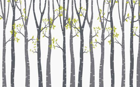 Birch Tree with deer and birds Silhouette Background Ilustración de vector