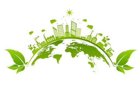 Ecology concept and Environmental ,Banner design elements for sustainable energy development, Vector illustration Vektorgrafik