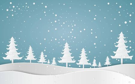 Merry christmas,Snow forest. pines in winter and mountain Paper vector Illustration Ilustração Vetorial