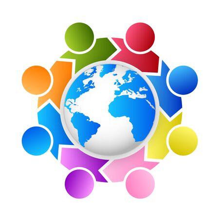 Vecteur de solutions de travail d'équipe de leadership mondial