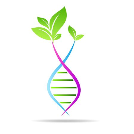 Organic DNA symbol ecology tree leaves. Green thinking technology innovations, conservation concept