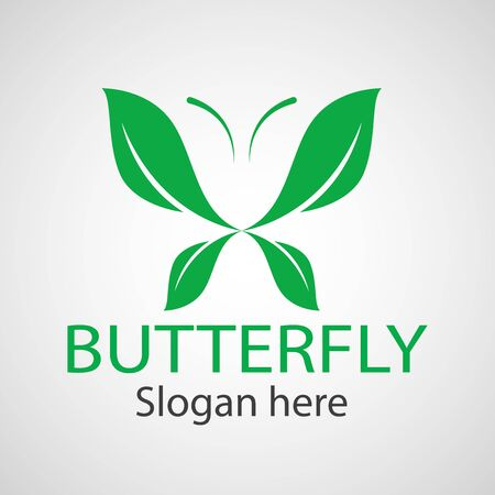 Green butterfly leaf template icon vector