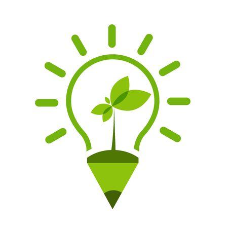 Light bulb green Ecology icon design template Vector Illustration
