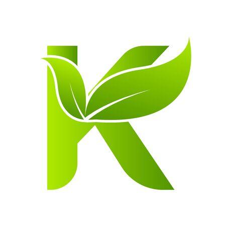 Letter K with leaf element. Ecology concept.