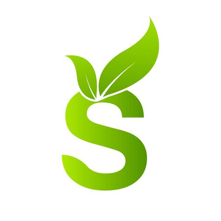 Letter S with leaf element. Ecology concept.