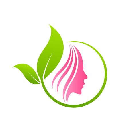 Woman face with leaves. Design concept for beauty salons and spa
