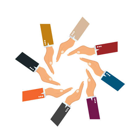 Hand Colorful Creative  Connection with Teamwork Illustration