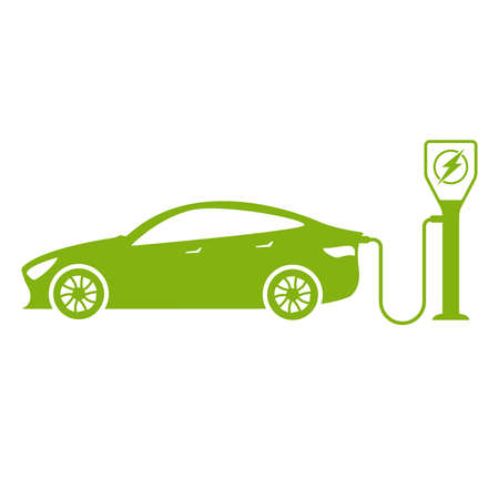 electric car sign and symbol icon concept illustration isolated