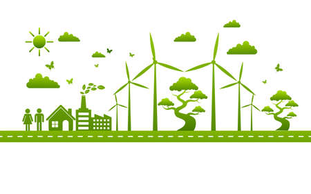 Ecology concept and Environmental ,Banner design elements for sustainable energy development, Vector illustration Illustration