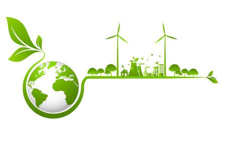 Ecology concept and Environmental ,Banner design elements for sustainable energy development, Vector illustration Ilustración de vector