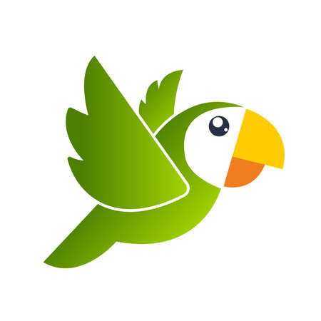 Parrot. Vector illustration. Isolated birds on white background