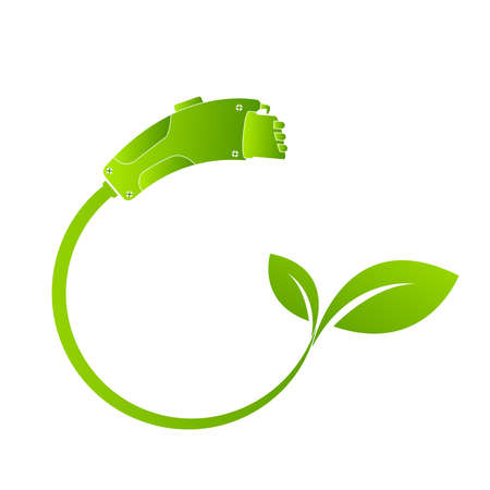 Electric car charging Eco fuel. Electric refueling. Concept Connector for charging. Plug and socket , Vector design.
