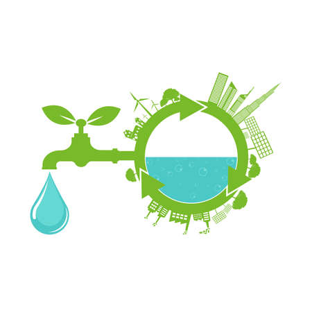 World Water Day Save Nature Concept Stock Vector