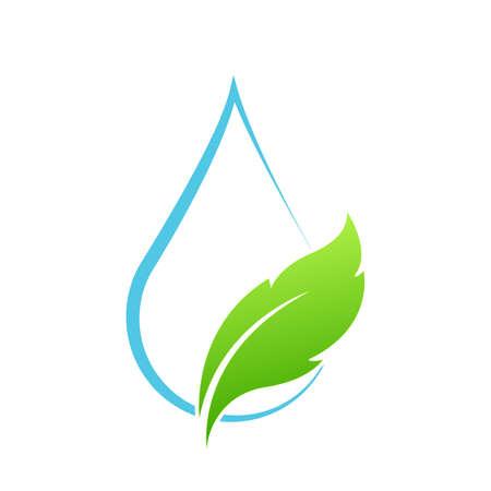 Water drop leaf Template vector illustration design