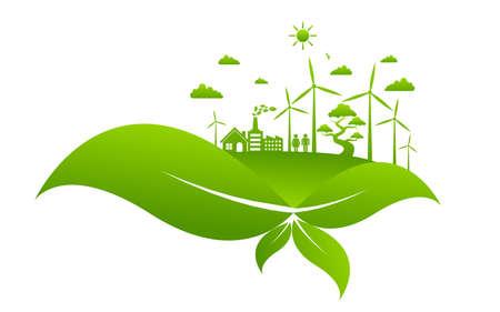 Ecology concept and Environmental ,Banner design elements for sustainable energy development, Vector illustration Illusztráció