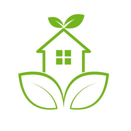 Leaf and Green House sign Template Illusztráció