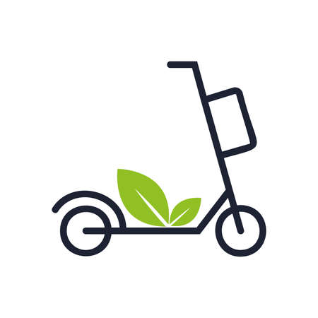 Electric scooter with leaves thin line icon. Green transport. Logo for sharing service. Modern vector illustration Illusztráció
