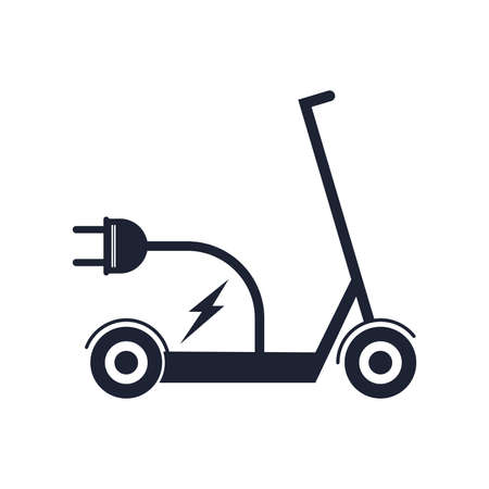 Electric scooter ,E scooter line icon. Battery powered scooter inside circle with a plug Vector illustration Illusztráció