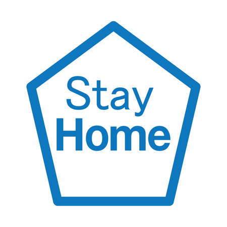 Stay at home text under house roof with heart above chimney. COVID 19 or coronavirus protection campaign logo. Self isolation appeal as sign or symbol. Virus prevention concept.