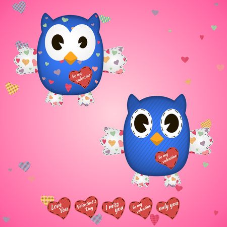 owlet: owlet blue in the hearts and on the wings . On a pink background