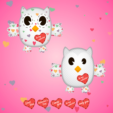 owlet: owlet white in the hearts and on the wings . On a pink background