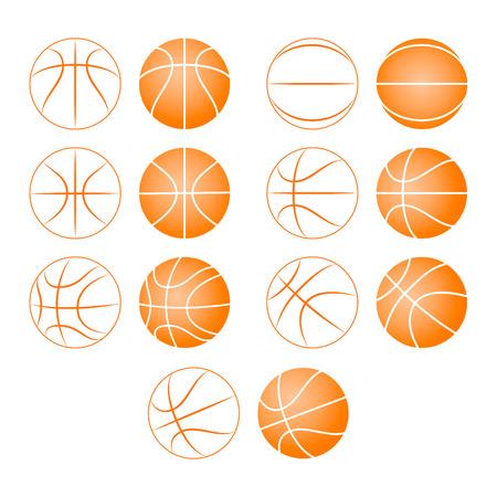 basketball shot: basketball, ball silhouette on a white background Illustration