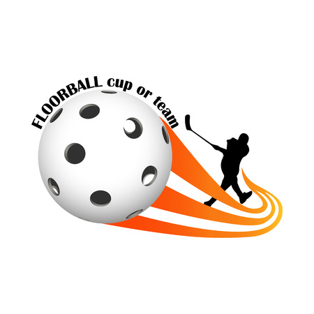 Floorball for the team and the cup on a white background