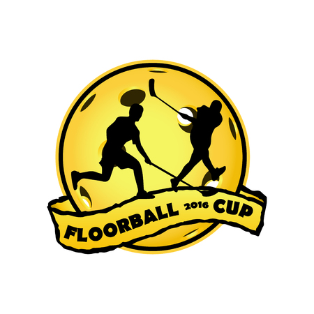 floor ball: Floorball for the team and the cup on a white background Illustration