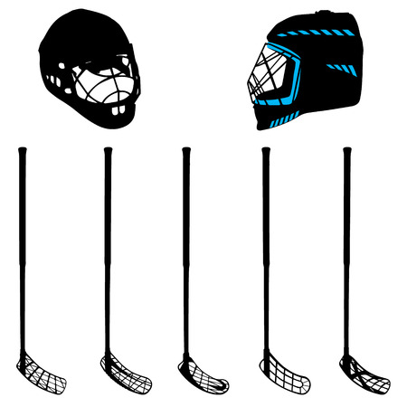 floor ball: floorball equipment for a cup on a white background Illustration