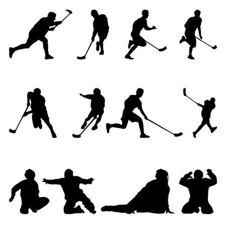 floorball silhouette badge for a cup on the white background