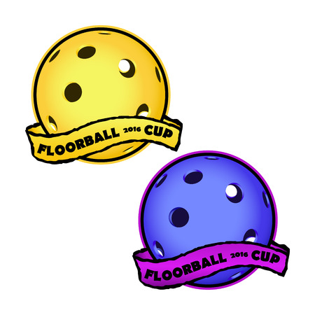 floorball: Floorball icon for the team and the cup on a white background